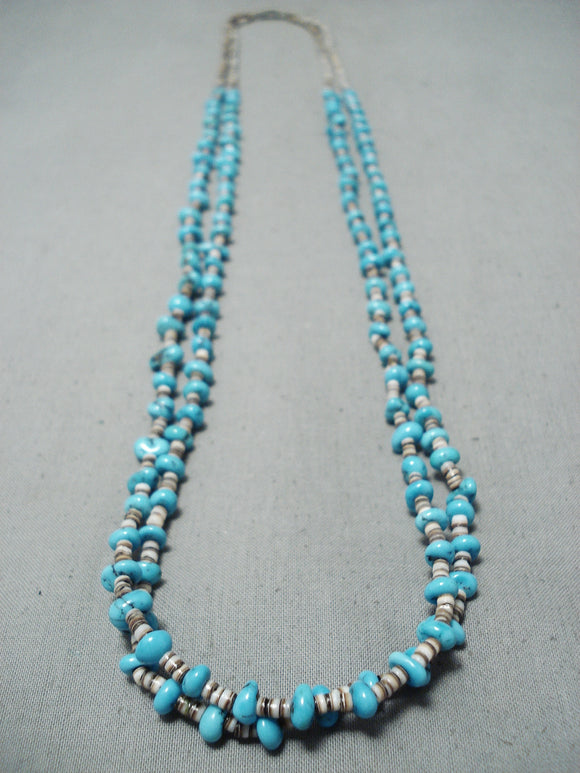 Marvelous Vintage Navajo Kingman Turquoise Necklace Native American