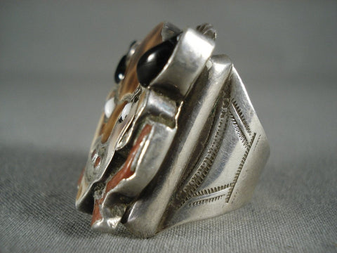 24 Grams Colossal Vintage Zuni Buffalo Head Native American Jewelry Silver Ring-Nativo Arts