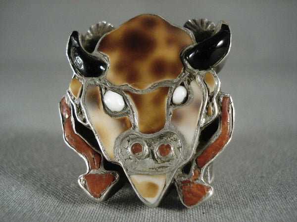 24 Grams Colossal Vintage Zuni Buffalo Head Native American Jewelry Silver Ring