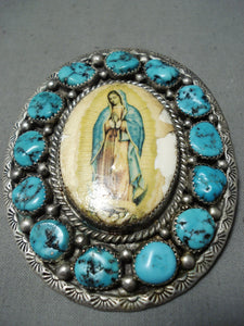Rare Vintage Native American Navajo Turquoise Sterling Silver Our Lady Of Guadalupe Pin Old