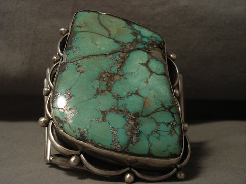 242 Grams Absolutely Immense Vintage Navajo Green Turquoise Native American Jewelry Silver Bracelet-Nativo Arts