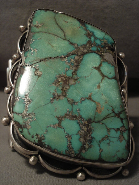 242 Grams Absolutely Immense Vintage Navajo Green Turquoise Native American Jewelry Silver Bracelet