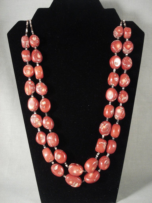 244 Grams Huge Chunky Vintage Navajo Native American Jewelry jewelry Coral Necklace-Nativo Arts
