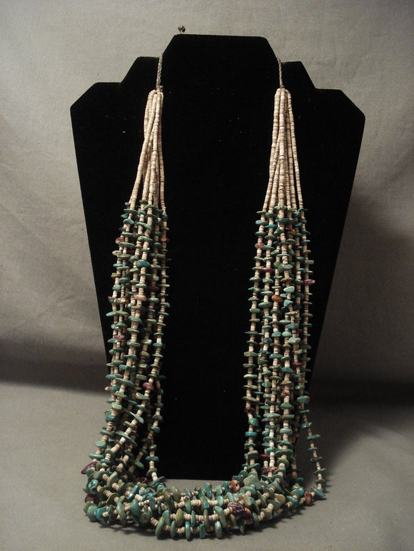 245 Gram Vintage Navajo Native American Jewelry jewelry Natural Green Turquoise Spiny Oyster Necklace-Nativo Arts