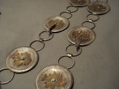 248 Gram Vintage Navajo Concho Native American Jewelry Silver Feather Belt/ Necklace-Nativo Arts