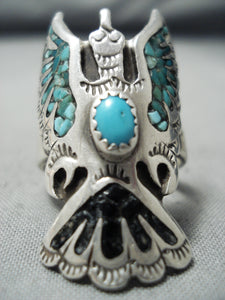 So Much Detail Vintage Native American Navajo Turquoise Sterling Silver Bird Ring Old