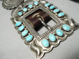 Highly Rare Vintage Native American Navajo Gary Reeves Turquoise Sterling Silver Concho Belt Old