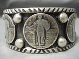 Heavy Thick Native American Navajo Hand Tooled Sterling Silver Coin Bracelet