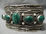 One Of Best Native American Navajo Malachite Sterling Silver Detailed Bracelet