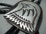 Newsworthy Vintage Navajo Sterling Silver Eagle Bolo Tie Native American Old