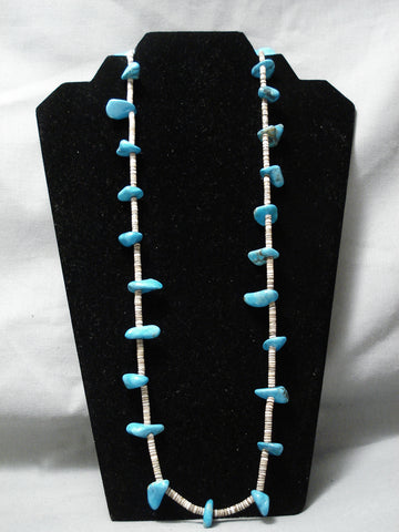 Amazing Vintage Navajo Bright Blue Turquoise Heishi Native American Necklace Old