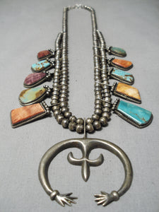 Superior Vintage Native American Navajo Turquoise Sterling Silver Squash Blossom Necklace