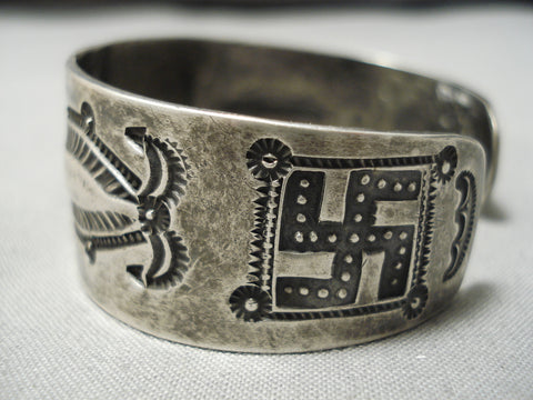 Late 1800's Early 1900's Vintage Native American Navajo Ingot/coin Silver Whirling Logs Bracelet