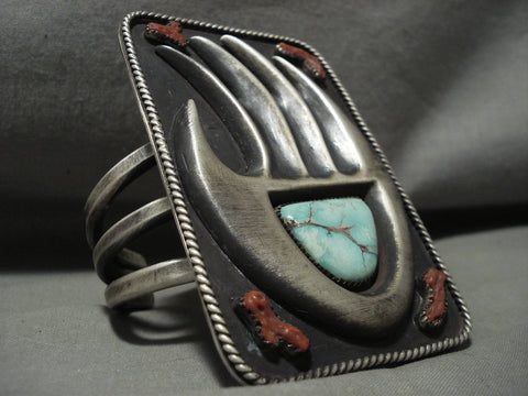 275 Grams Huge Vintage Navajo Carico Lake Turquoise 'Power Hand: Native American Jewelry Silver Bracelet-Nativo Arts