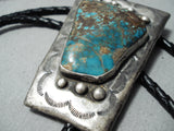 Remarkable Vintage Native American Navajo 8 Turquoise Sterling Silver Bolo Old