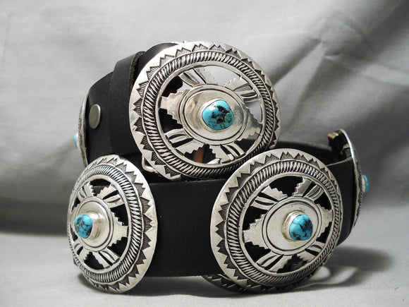Heavy Huge Vintage Native American Navajo Geometric Sterling Silver Turquoise Concho Belt