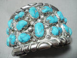 200 Gram Vintage Native American Chunky Turquoise Sterling Silver Bracelet Old