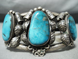 Museum Vintage Native American Navajo Blue Diamond Turquoise Sterling Silver Bracelet