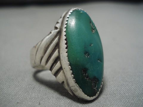 Important Rich Hoskie Vintage Native American Navajo Cerrillos Turquoise Sterling Silver Ring