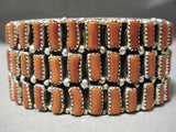 Important Navajo Sterling Silver Native American Coral Bracelet Cuff