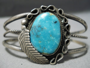 Exquisite Vintage Native American Navajo Pilot Mountain Turquoise Sterling Silver Bracelet Old