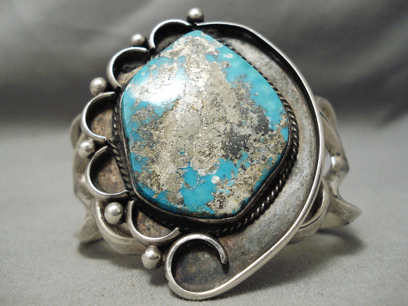 One Of The Best Vintage Native American Navajo Morenci Turquoise Sterling Silver Bracelet Old