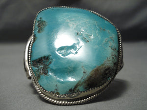 Native American Huge Vintage Hopi Rare Green Turquoise Sterling Silver Bracelet Old