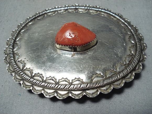 Remarkable Vintage Native American Navajo Coral Sterling Silver Belt Buckle Old
