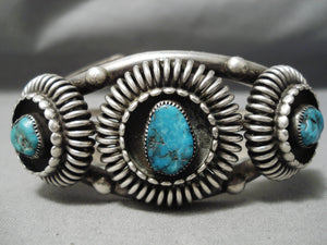 Heavy Thick Vintage Native American Navajo Turquoise Sterling Silver Basket Bracelet Old