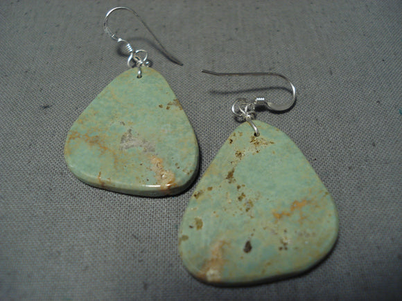 Native American Awesome Santo Domingo Royston Turquoise Slab Sterling Silver Earrings