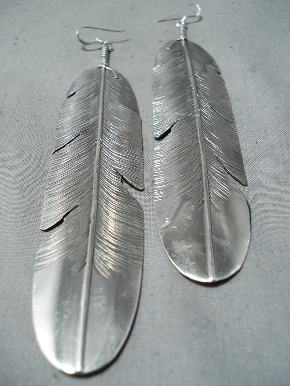 Unbelievable Navajo Sterling Silver Feather Earrings Native American