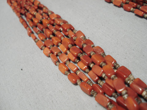 Important Vintage Native American Navajo Roe Yazzie Rectangle Coral Sterling Silver Necklace