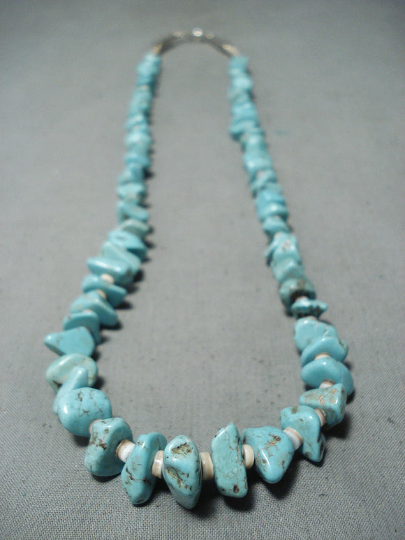 Fabulous Navajo Kingman Turquoise Sterling Silver Necklace Native American