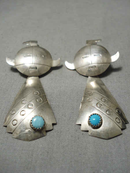 Detailed Vintage Native American Navajo Hand Wrouhg Tsterling Silver Turquoise Earrings