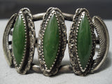 Very Rare!! Vintage Native American Navajo Jade Sterling Silver Leaf Bracelet Old