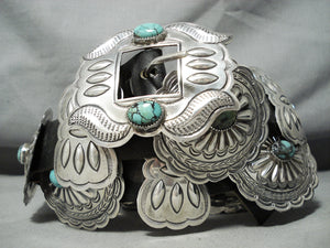 Hand Tooled Vintage Native American Navajo Spiderweb Turquoise Sterling Silver Concho Belt