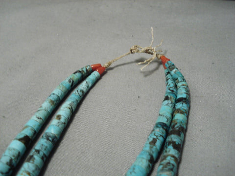One Of The Best Vintage Navajo Santo Domingo Turquoise Native American Necklace