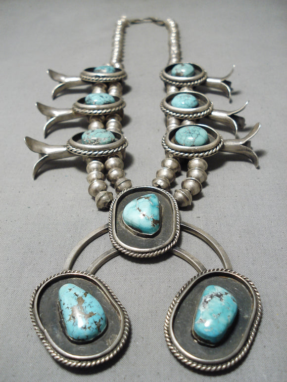 Giant Vintage Native American Navajo Turquoise Sterling Silver Squash Blossom Necklace