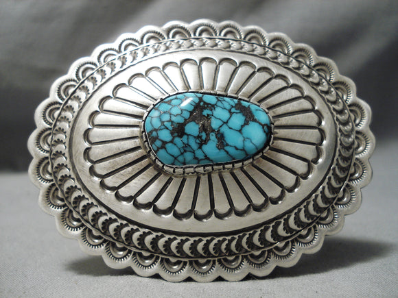 Amazing Vintage Navajo Turquoise Spiderweb Sterling Silver Buckle