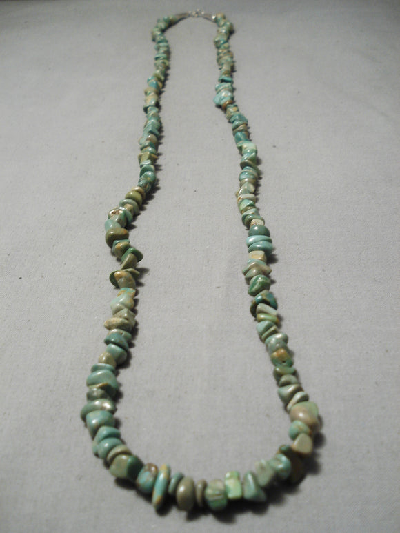 Native American Longer Vintage Santo Domingo Royston Turquoise Sterling Silver Necklace