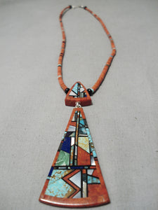 Native American One Of The Best Vintage Santo Domingo Coral Sterling Silver Turquoise Necklace