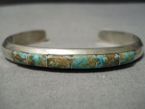 Thicker Vintage Native American Navajo Royston Turquoise Sterling Silver Bracelet Old