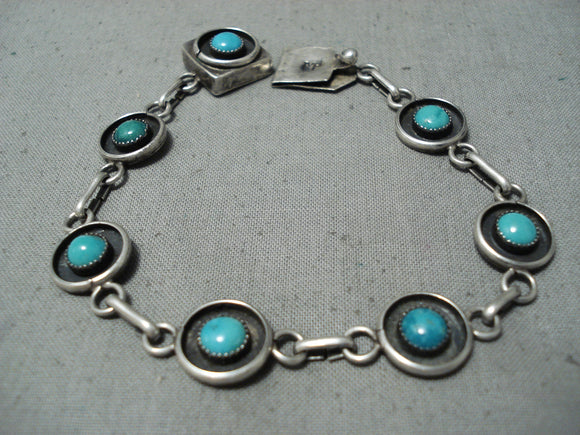 Incredible Vintage Native American Navajo Blue Green Turquoise Sterling Silver Bracelet