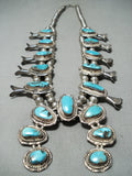Women's Vintage Native American Navajo Morenci Turquoise Sterling Silver Squash Blossom Necklace