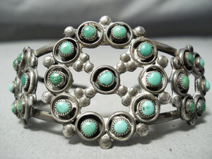 Early Vintage Native American Navajo Cerrillos Snake Eyes Turquoise Sterling Silver Bracelet Old