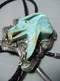 Native American Best Vintage Navaj Eagle Hand Carved Turquoise Sterling Silver Bolo Tie