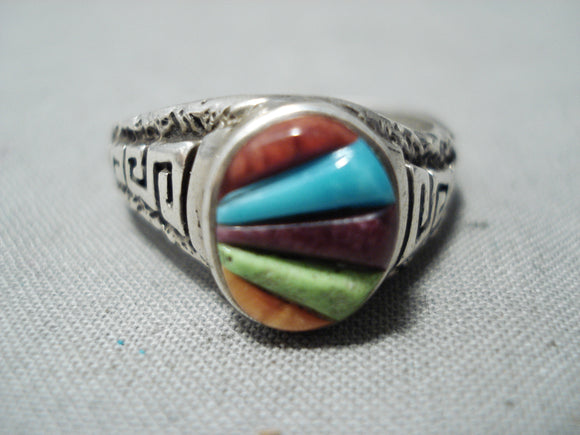 Colorful Vintage Navajo Turquoise Sterling Silver Ring Native American Old