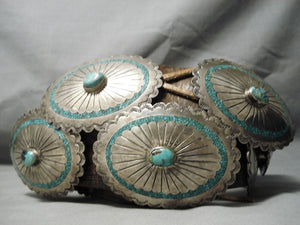 Huge Very Unique Vintage Native American Navajo Sterling Silver Turquoise Inlay Concho Belt Old