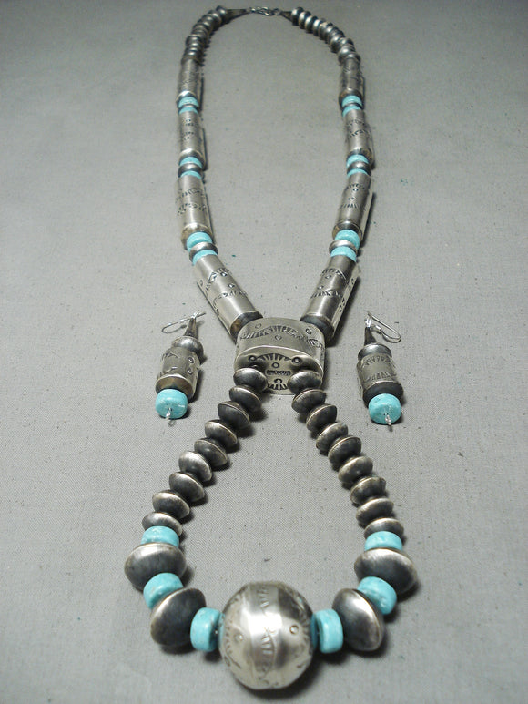 Signed Huge Tubule Native American Navajo Turquoise Sterling Silver Necklace