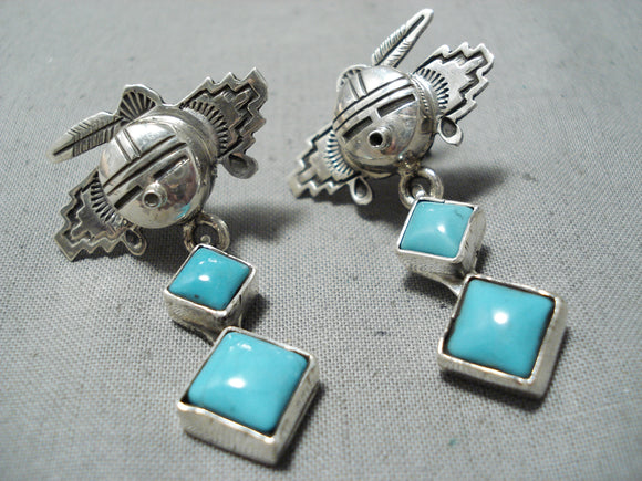 Amazing Native American Navajo Sleeping Beauty Turquoise Sterling Silver Kachina Earrings